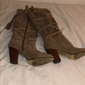 LEILA STONE TAN OVER THE KNEES BOOTS WITH ZIPPER